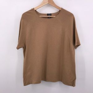 Eileen Fisher Woman Plus 1X Tan Short Sleeve